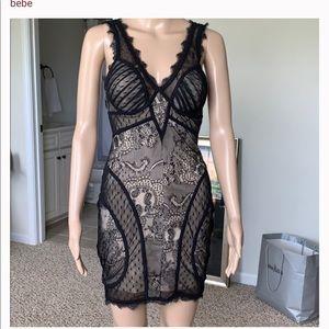 Bebe Black and Tan lace dress size L